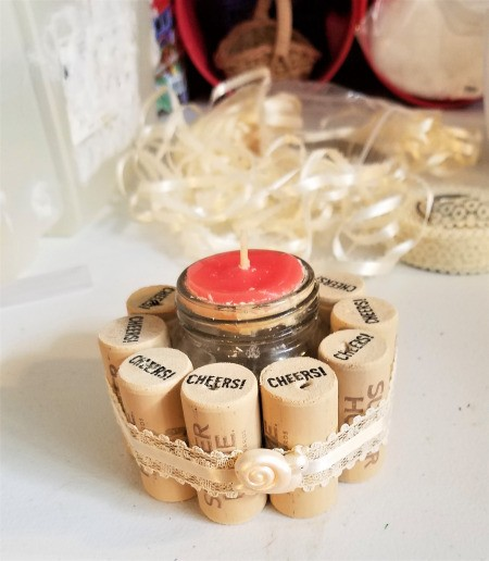Recycled Cork Thread Dispenser and a Candle Holder - finished candle holder