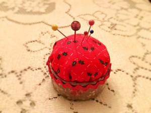 Bottlecap Pincushion - looking down on pincushion