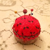 Bottlecap Pincushion - looking down on pincushion
