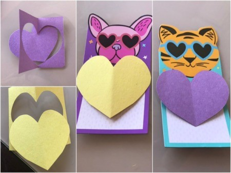 """Eyes On You"" Valentines - cut two paper hearts to cover the text on the front of the packaging and glue down"