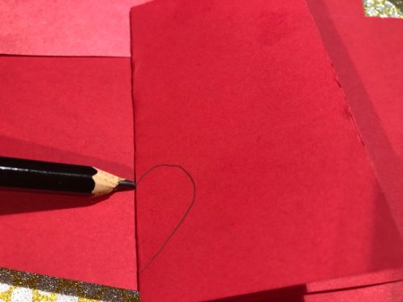 Guitar Heartstrings Card - draw half heart on a folded piece of red paper