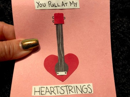 Guitar Heartstrings Card - strings move when the card is bent
