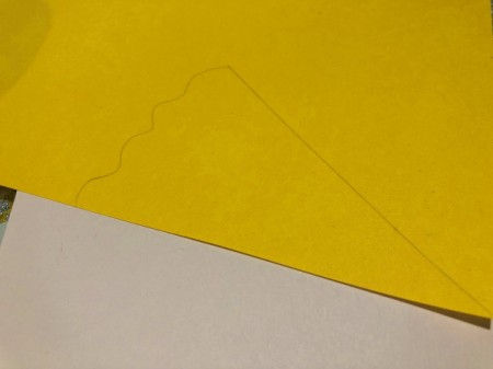 Pizza My Heart Card - lay the yellow paper over the card and cut cheese layer to size, add a wavy edge, cut out