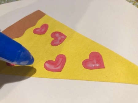 Pizza My Heart Card - optional, add some glue to the hearts and sprinkle with glitter