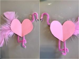 Flamingo Heart Card or Kids' Craft - facing flamingos