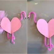Flamingo Heart Card or Kids' Craft - facing flamingos