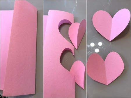 Flamingo Heart Card or Kids' Craft - cut out two heart shapes from pink paper