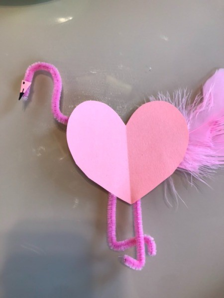Flamingo Heart Card or Kids' Craft - reverse flamingo with head added