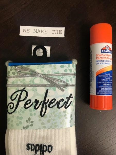 Decorating Socks with Cute Messages - use glue stick to attach