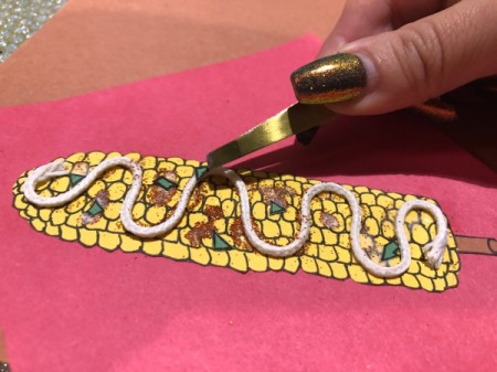 """""""I Like You Elote"""" Multi-occasion Greeting Card - dap on spots of glue and attach cilantro using tweezers"""