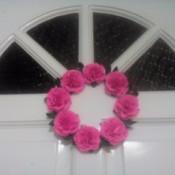 Paper Carnation Wreath - closeup of wreath on the front door