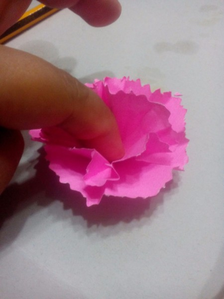 Paper Carnation Wreath - glue the layers together