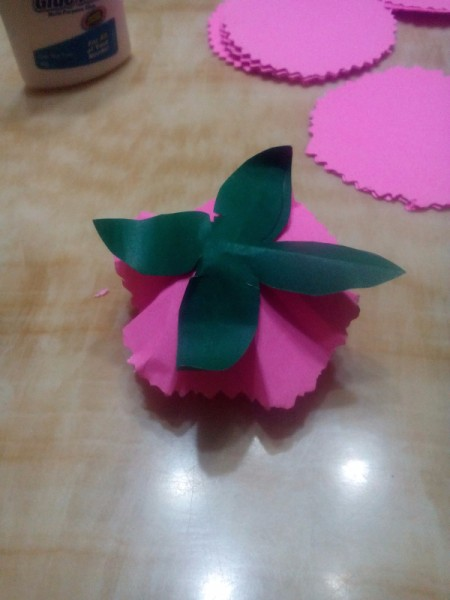 Paper Carnation Wreath - glue to the bottom of the flower