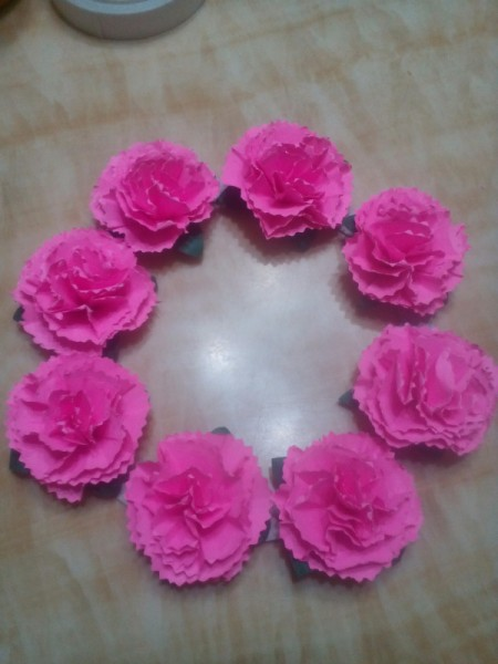 Paper Carnation Wreath - flowers attached