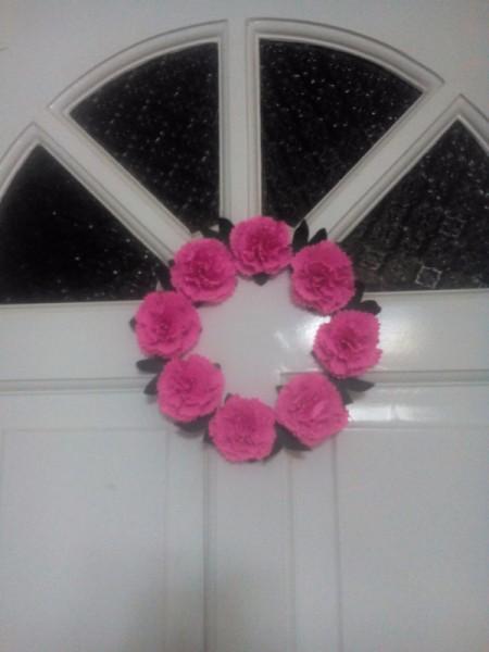 Paper Carnation Wreath - wreath on a front door