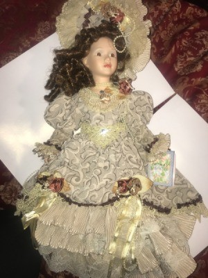 Value of a Limited Edition Cathay Depot Doll - doll in lace dress with matching hat