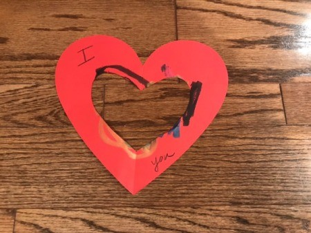 """""""I Love You"""" Toddler Artwork - outer open card with message added"""