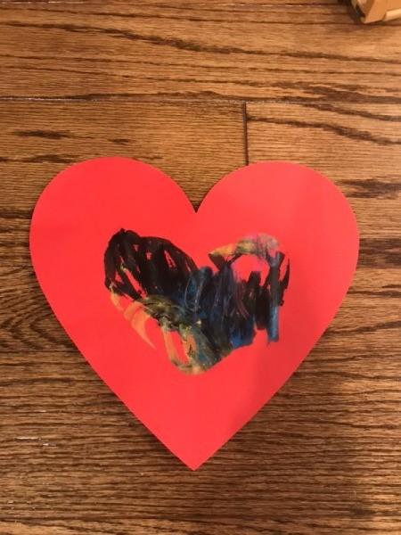 """""""I Love You"""" Toddler Artwork - artwork on solid heart shape"""