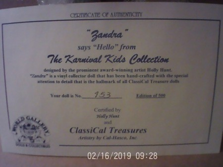 Value of a Karnival Kids Collection Porcelain Doll
