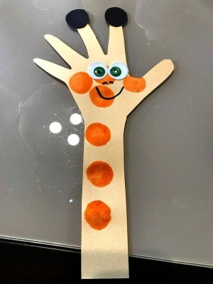 Handprint Giraffe Bookmark - finished bookmark