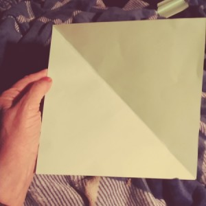 A perfect square from a rectangular piece of paper.