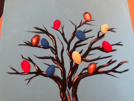 Pistachio Shell Birds Painting - lay out the shells