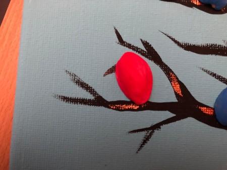 Pistachio Shell Birds Painting - lift each shell and paint a beak then add a blob of glue and attach shell (bird)