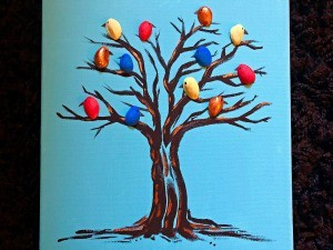 Pistachio Shell Birds Painting - finished painting