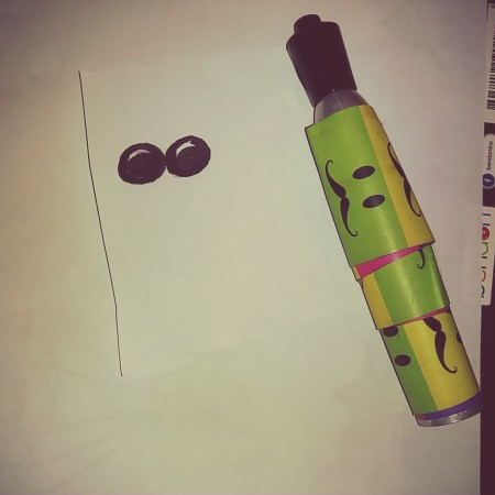 Paper Easter Bunny - draw eyes on paper using a marker