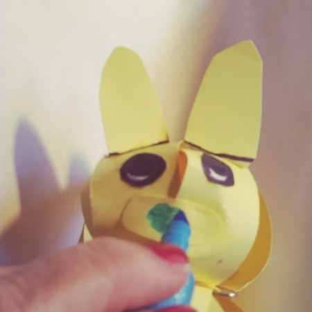 Paper Easter Bunny - make a green heart shaped nose with a marker