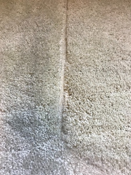 A dent caused by furniture in wall to wall carpet.