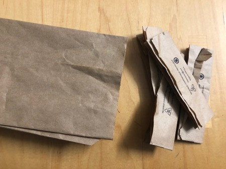 Recycled Paper Bag Doodle or Sticker Book - cut off the end
