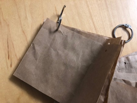 Recycled Paper Bag Doodle or Sticker Book - clip pages together with loose leaf rings