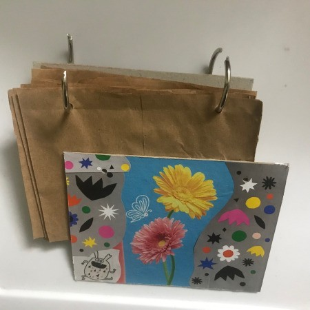 Recycled Paper Bag Doodle or Sticker Book - open the loose leaf rings and add the front and back covers