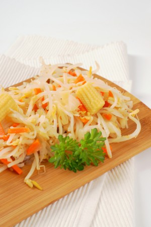 Pickled beansprouts with carrots and baby corn.