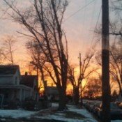 A street at sunset in Peoria, IL.