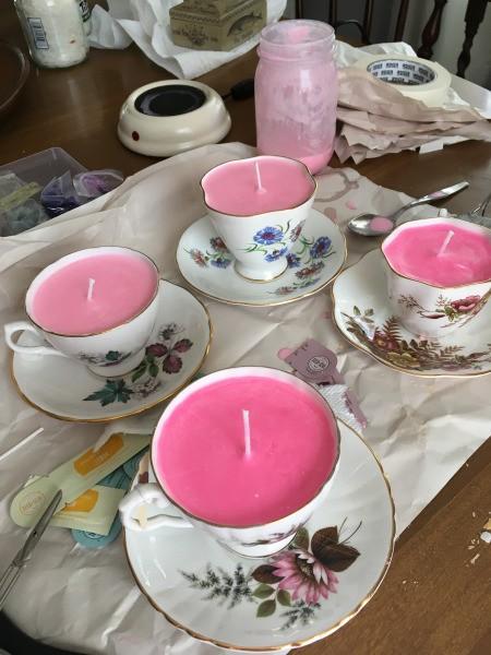 Teacup Candles - four teacup candles