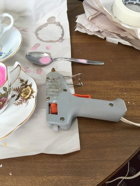 Teacup Candles - hot glue gun for gluing the cup to the saucer