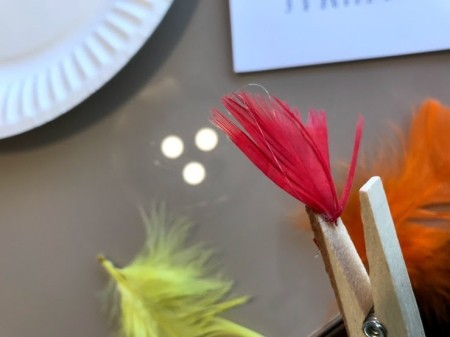 Clothespin Chicken Plant Decoration - glue feathers on the the inside of one of the top parts of the clothespin