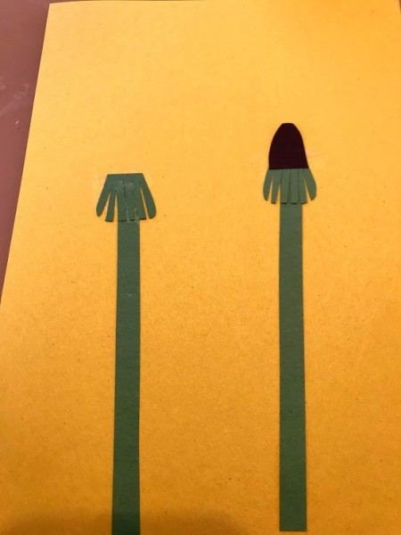 Making a Dandelion Card - Toddler Activity - glue the paper parts to the background paper