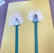 Making a Dandelion Card - Toddler Activity - view of finished dandelion seed heads