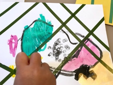 Toddler Tape Art Painting - allow toddler to paint their picture