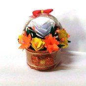 Bottle Cap Mini Flower Basket - finished basket