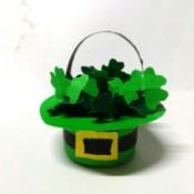 Mini Shamrock Hat Basket - tiny green Irish hat filled with mini shamrocks
