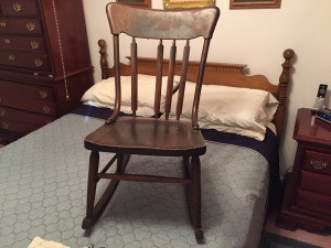 Value of a Murphy Rocking Chair - old armless wood rocking chair with missing back slat