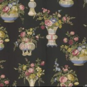 Searching for Waverly Wild Rose Wallpaper  - black background with vases of roses