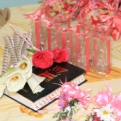 Souvenirs and decorations for a wedding.