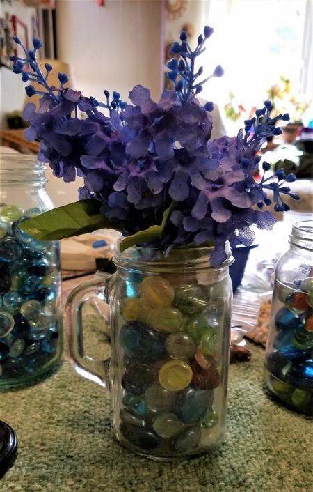 Vase of Many Colors - flowers in gem filled mug