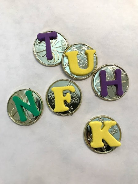 Rainbow Pot of Gold Activities - foam letters stuck to plastic coins