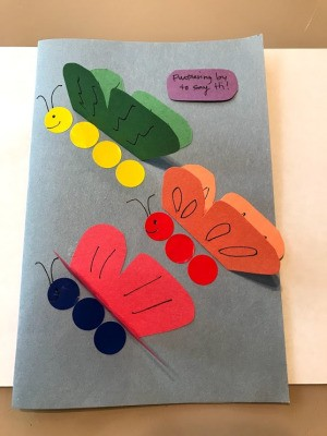 Fluttering Butterflies Greeting Card - message written on a small piece of paper and glued on